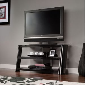 Sauder TV Stand 3 Shelves Temp. Glass (414473) Image