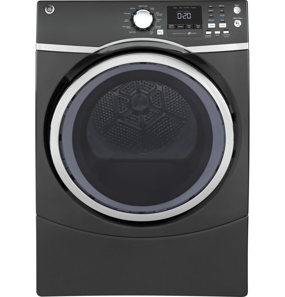 GE® 7.5 cu. ft. capacity Front Load electric dryer with steam (GFD45ESPKDG) Image
