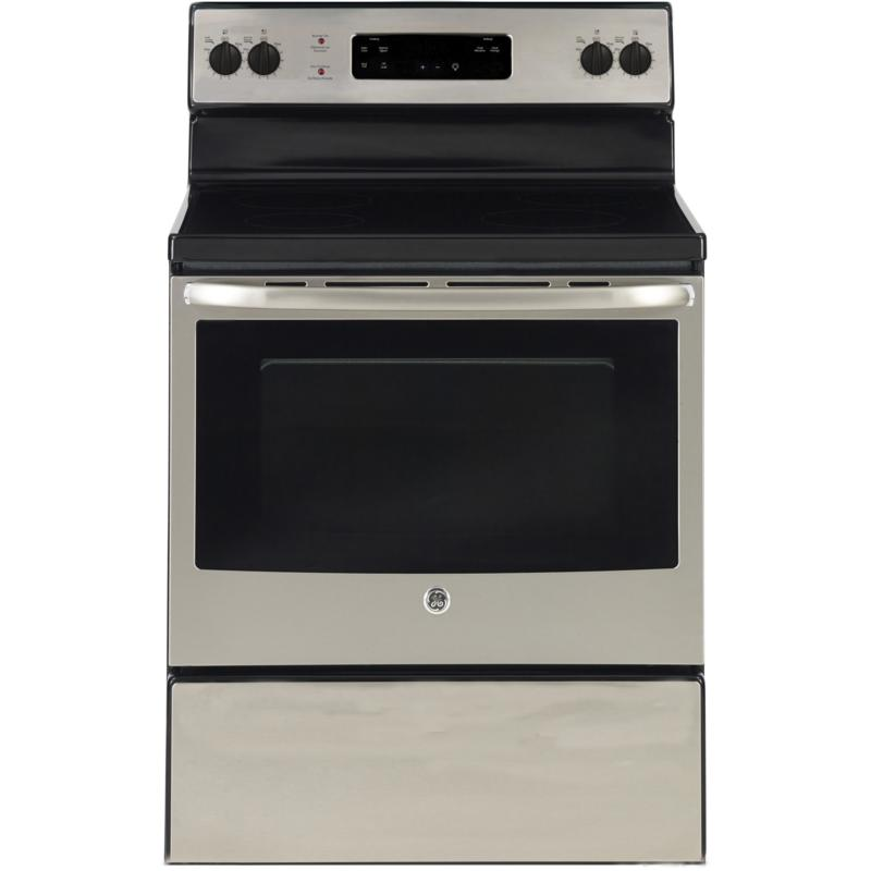GE® 30in Free Standing Electric Standard Clean Range (JCBS630SKSS) Image