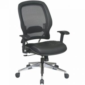 Office Star® Professional AirGrid® Back Managers Chair with Black Leather Seat and Trim (335-47P918P) Image