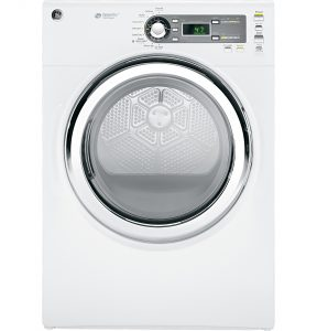 GE® 7.5 cu. ft. capacity frontload dryer with Steam and stainless steel drum (GFDS150EDWW) Image